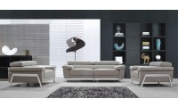 Divani Casa Encore Modern Sofa Set in Grey Leather