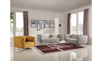 Divani Casa Medora Sofa Set in Grey and Yellow Fabric