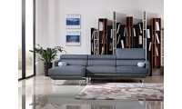 Divani Casa Pierce Sectional Sofa in Blue Fabric