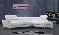 Divani Casa Waltz Sectional Sofa in White Leather
