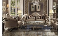 Dresden Living Room Set in Velvet and Gold Patina