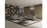 Eden Italian Living Room Set in Grey Italian Leather