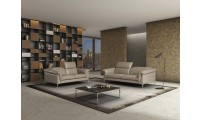 Eden Italian Living Room Set in Taupe Italian Leather
