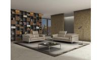 Eden Italian Living Room Set in Taupe Italian Leather