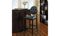 EEI-816 Button Black Upholstered Bar Stool