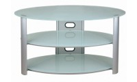 Oval White Frosted Glass TV Stand V Hold 8