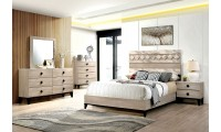 Elaina Bedroom Set in Beige And Espresso