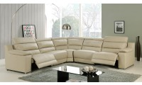 Elda Power Reclining Sectional Sofa in Beige Leather