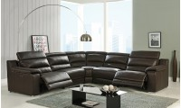 Elda Power Reclining Sectional Sofa in Brown Leather