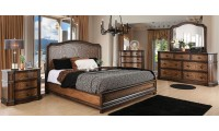 Emmaline Traditional Bedroom Set in Warm Chestnut Two Tone