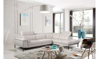 ESF 1511 Modern Sectional Sofa in Off White Leather