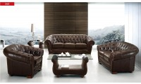 ESF 262 Living Room Set in Brown Full Top Grain Leather