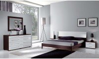 Luxury Italian Bedroom Set in White and Espresso Finish