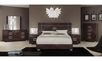 Prestige Italian Bedroom Set Brown Lacquer Finish