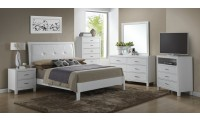White Solid Wood Bedroom G1275A with Leather Headboard Bed