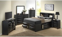 Black Solid Wood Storage Bed G1500G Bedroom Set