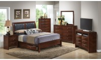 Leather Headboard Storage Bed Cherry Bedroom Set G1550D