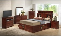 Bookcase Storage Bed Cherry Finish Bedroom Set G3100B