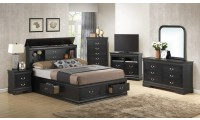 Black Solid Wood Bedroom Set G3150B with Storage Bed
