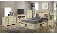 Beige Bedroom Set G3175B with Bookcase Storage Bed