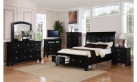 Black Finish Wood Storage Bedroom Set G7025A