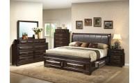 Brown Leather Headboard Storage Bedroom Set G8875C