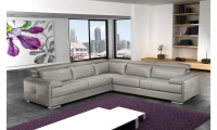 Nicoletti Gary Sectional Sofa in Ash Grey Italian Leather