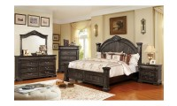 Genevieve Bedroom Set in Distressed Walnut