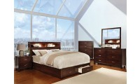 Gerico II Bedroom Set in Brown Cherry with Storage Bed