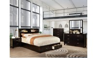 Gerico II Bedroom Set in Espresso with Storage Bed