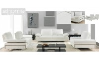 Gia Ivory White Italian Modern Leather Sofa Loveseat or Chair Set