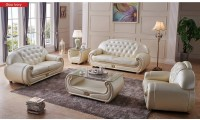 Giza Ivory Living Room Set in Full Leather by ESF