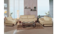 Global Furniture 728 Living Room Set in Beige Leather