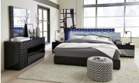 Global Manhattan Black Bedroom Set with LED Lights