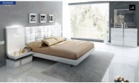 Granada Modern Bedroom Set in White Lacquer Finish