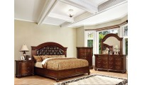 Grandom Bedroom Set in Cherry Finish and Espresso Headboard