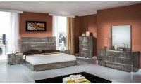 Modrest Picasso Italian Bedroom Set in Grey Lacquer Finish