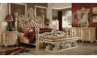 Homey Design HD-7266 Traditional Bedroom Set in Gold Finish