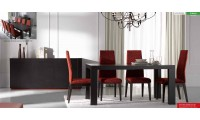 Inessa Black Table Ada Red Chairs Contemporary Dining Room Set