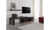 Inessa Modern Long TV Stand in Red and Black Finish