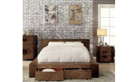 Janeiro Bedroom Set in Rustic Natural Tone with Storage