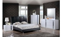Jody White Bedroom Set with Black Upholstered Bed
