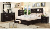 Karla Bedroom Set in Espresso with Storage Bed