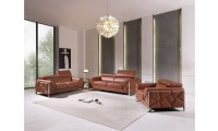 Divanitalia 903 Living Room Set in Camel Leather