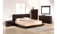 Knotch Contemporary Bedroom Set in Brown Wood