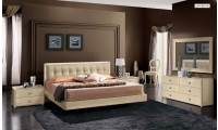 La Star Italian Bedroom Set in Ivory Lacquer Finish