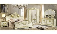Leonardo Italian Bedroom Set in Ivory and Gold Finish