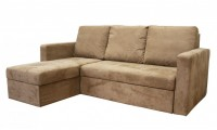 Linden Contemporary Tan Microfiber Sofa Bed Storage Chase Sectional