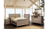 Loxley Traditional Bedroom Set in Weathered Oak
