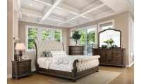 Lysandra Sleigh Bedroom Set in Rustic Natural Tone and Beige